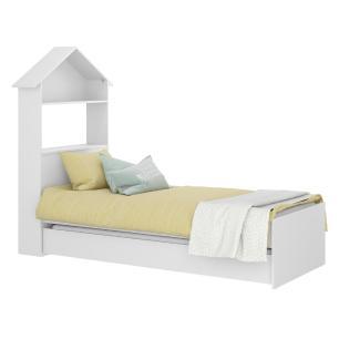 Bicama Solteiro com Baú e Cabeceira Casinha para colchão 78 x 188 cm Sophia Multimóveis Branca