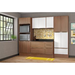 Cozinha Completa Multimóveis com 8 peças Calábria 5452R Nogueira/Branco