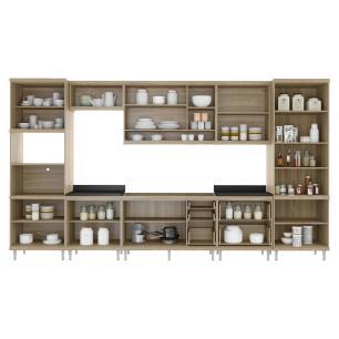 Cozinha Completa Multimóveis com 8 peças Sicília 5832 Argila/Branco