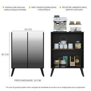 Aparador Cantinho do Café com Espelho e Pés Retrô 2 Portas Multimóveis Preto