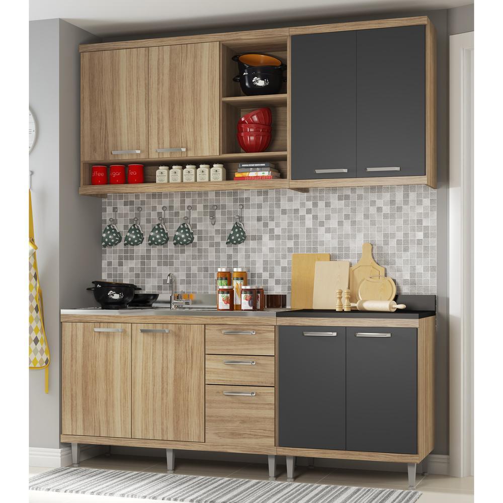 Cozinha Compacta Completa Multimóveis com 4 peças Sicília 5818 Argila/Grafite