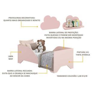Minicama Soninho com 2 Prateleiras Nuvem Multimóveis Rosa REF. 2816.157