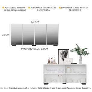 Aparador Buffet 4 portas com Espelho e Pés Quadrados Vegas Multimóveis Branco/Preto