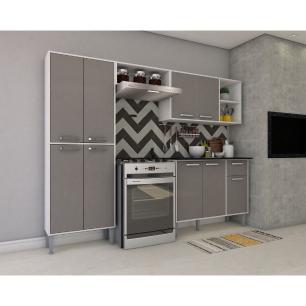Cozinha Completa Compacta com Armário e Balcão com Tampo Coimbra Multimóveis Branco/Lacca Fumê