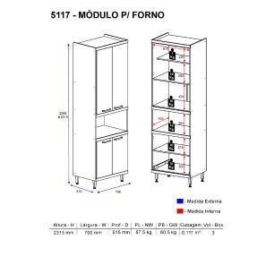 Paneleiro Multimóveis Sicília para forno 5117 Argila