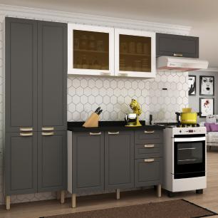 Cozinha Completa 5 peças Americana Multimóveis 5680 Branco/Grafite