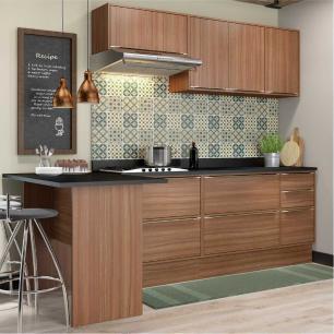 Cozinha Completa Multimóveis com 8 peças Calábria 5455R Nogueira