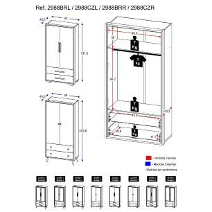 Guarda Roupa 100% MDF 2 ptas e 2 gav Encanto Multimóveis, puxad. perfil e pés quadrados Bco