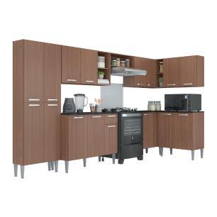 Cozinha Completa com Armário e Balcão com Tampo 7 peças Pequim Soul Multimóveis Carvalho Avelã