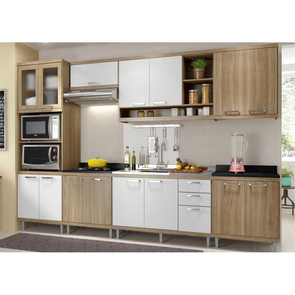 Cozinha Completa Multimóveis com 7 peças Sicília 5834 Argila/Branco