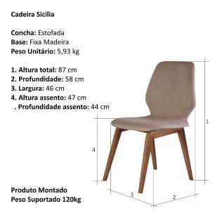 Cadeira de Jantar Fixa Sicilia Café com Leite 1777 Base Madeira cor Imbuia