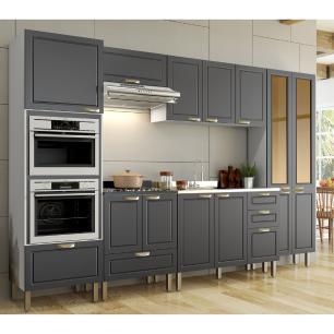 Cozinha Completa 7 peças Americana Multimóveis 5657MF Branco/Grafite