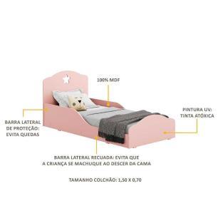 Mini Cama Estrela Multimóveis 100% MDF  para Colchão 150x70cm Rosa