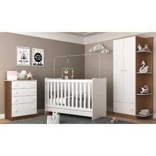 Quarto Infantil Doce Sonho com berço 4 em 1 vira Escrivaninha Multimóveis Madeirado/Branco