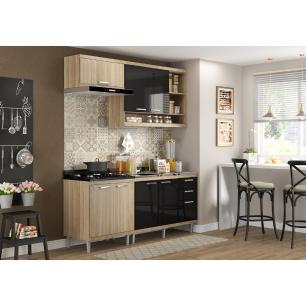 Cozinha Compacta com Pia Inox 5 peças Sicília Multimóveis MP3211 Madeirado/Preto