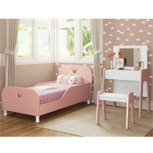Cama Infantil com Penteadeira 100% MDF para colchão 70 x 150 cm Rei/Rainha Multimóveis Rosa/Branca