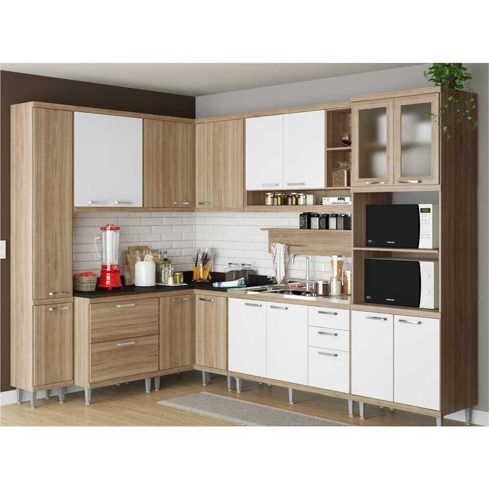 Cozinha Completa Multimóveis com 9 peças Sicília 5802 Argila/Branco