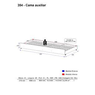 Cama Auxiliar Multimóveis para colchão 190 cm x 80 cm Avelã REF.354.161