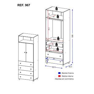 Guarda-Roupa/Roupeiro Multimóveis Rafael 2 Portas e 4 Gavetas Branco