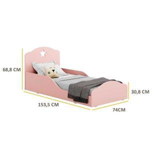 Cama Infantil para colchão 70 x 150 cm 100% MDF Estrela Multimóveis Rosa