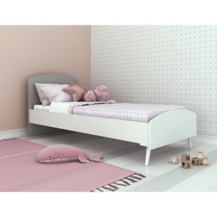 Cama Solteiro para colchão 78 x 188 cm  100% MDF Doçura Multimóveis Branco/Cinza