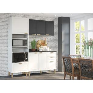 Cozinha Completa 4 peças Americana Multimóveis 5910 Branco/Grafite