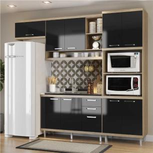 Cozinha Compacta Completa Multimóveis com 4 peças Sicília 5828 Argila/Preto