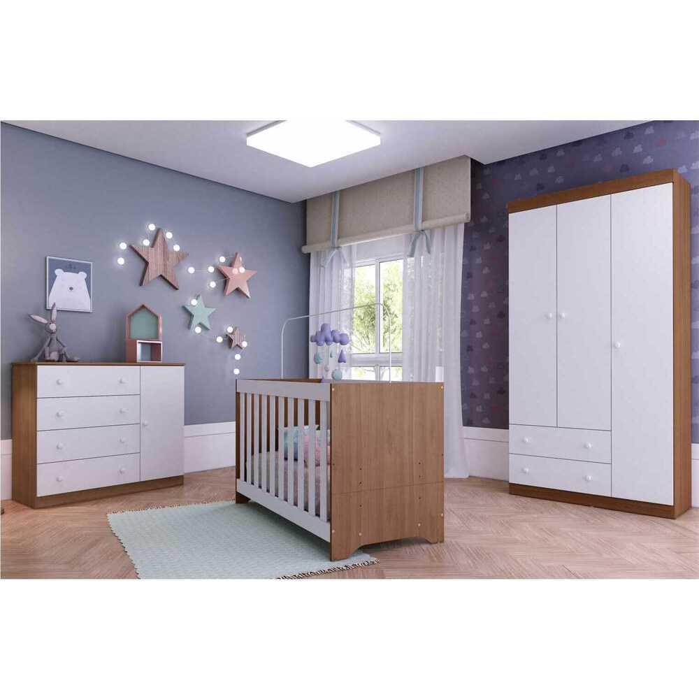 Quarto Completo infantil Helena Multimóveis Avelã/Branco com Berço mini cama + Guarda roupa 3 portas + cômoda 1 Porta e 4 Gavetas