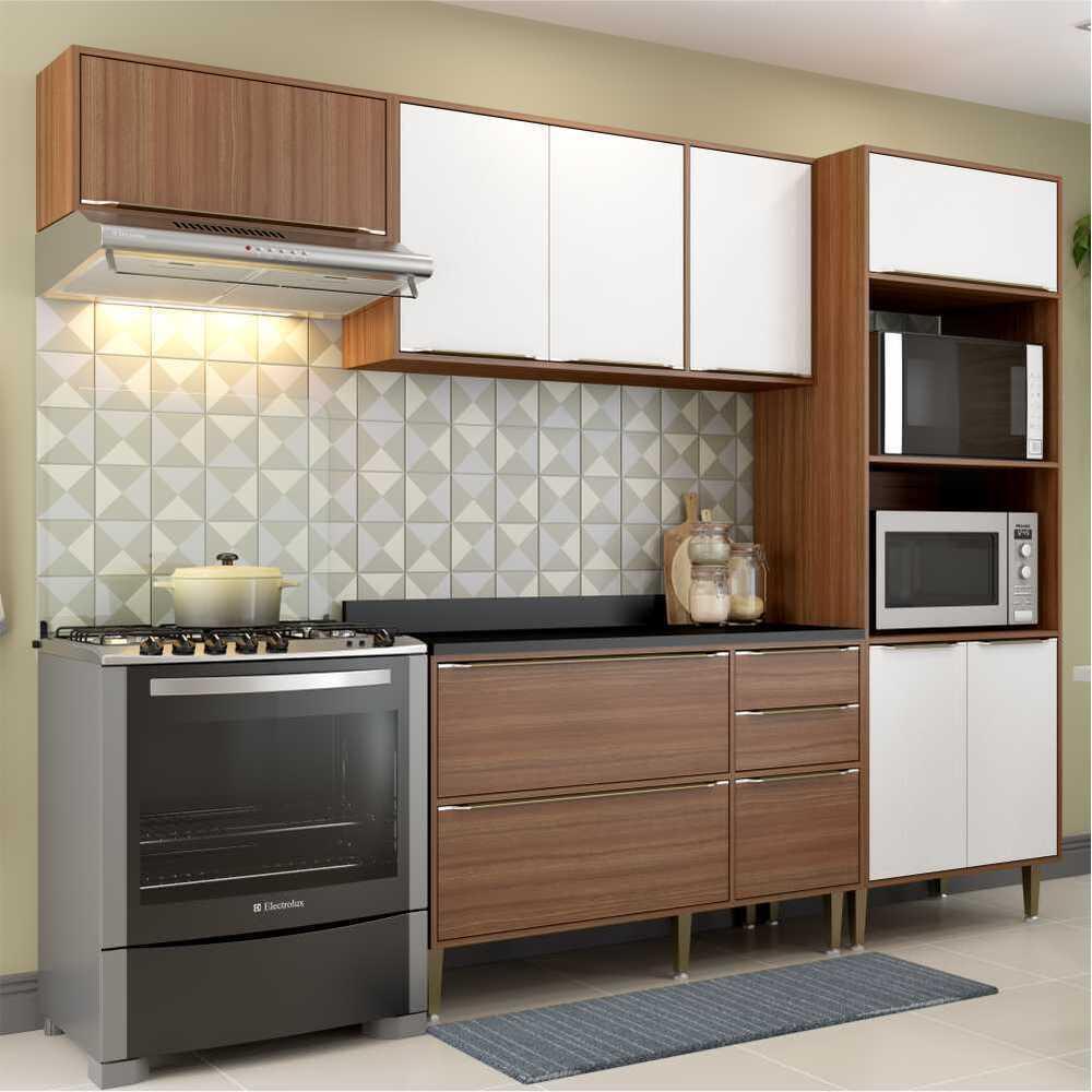 Cozinha Completa Multimóveis com 5 peças Calábria 5457 Nogueira/Branco