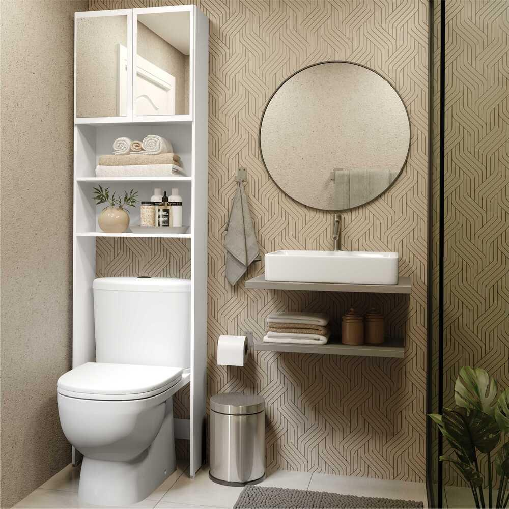 Armário Banheiro p/ Vaso Sanitário com 2 portas e espelho Aspen Plus Multimóveis Branco