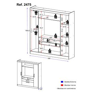 Guarda-Roupa / Roupeiro Multimóveis 3 Portas e 1 Gavetas Duna Acetinado