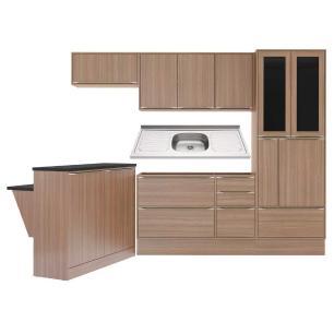 Cozinha Compacta com Pia Inox, Bancada e Rodapé 8 peças Calábria Multimóveis MP3225 Madeirado