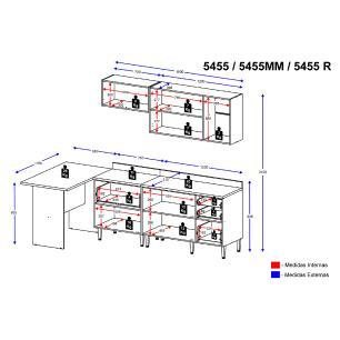 Cozinha Completa Multimóveis com 6 peças Calábria 54555 Nogueira