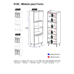 Paneleiro Multimóveis Sicília para forno e micro com vidro 5120 Argila