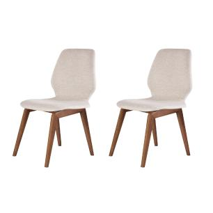 Conjunto de 02 Cadeiras de Jantar Fixa Sicilia Bege Claro 4612 Base Madeira cor Imbuia