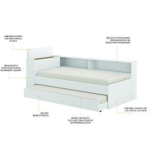 Bicama Multimóveis com Prateleira e Baú para colchão 190cmx80cm Branca REF.5011.010