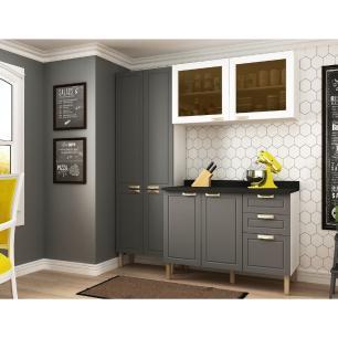 Cozinha Completa 4 peças Americana Multimóveis 5672 Branco/Grafite
