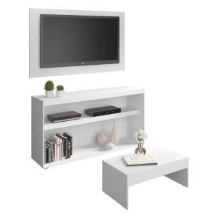 Rack c/Painel TV até 50 Pol.Mesa de apoio Atualle Multimóveis Branco Texturizado REF. 2839