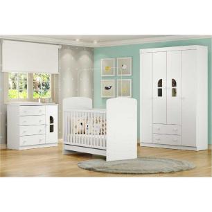 Quarto Completo infantil New Cristal Multimóveis Branco com Berço mini cama + Guarda roupa 4 portas + cômoda 1 Porta e 4 Gavetas