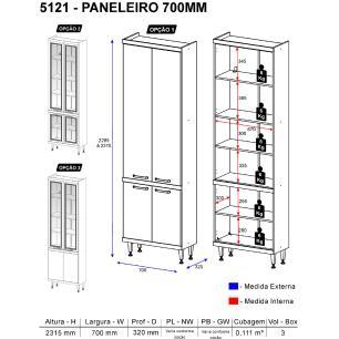 Paneleiro Multimóveis Sicília prof.32cm com vidro 5121 Argila/Branco