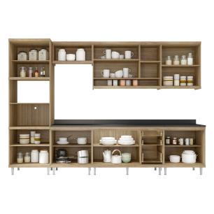 Cozinha Completa Multimóveis com 8 peças Sicília 5835 Argila/Preto