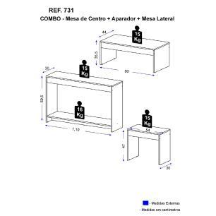 Sala de Estar Multimóveis 3x1 - Aparador, Mesa Lateral e Mesa de centro Preto REF. 731.130
