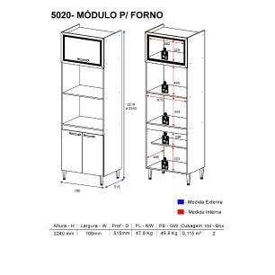 Paneleiro para dois fornos Torre-quente Multimóveis Toscana 5020 Argila/branco com 2 Portas