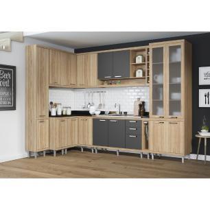 Cozinha Completa Multimóveis com 10 peças Sicília 5804 Argila/Grafite
