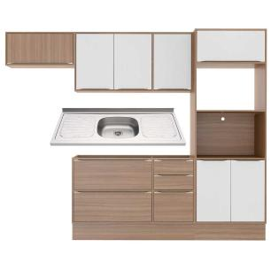 Cozinha Compacta com Pia Inox e Rodapé 7 peças Calábria Multimóveis MP3203 Madeirado/Branco