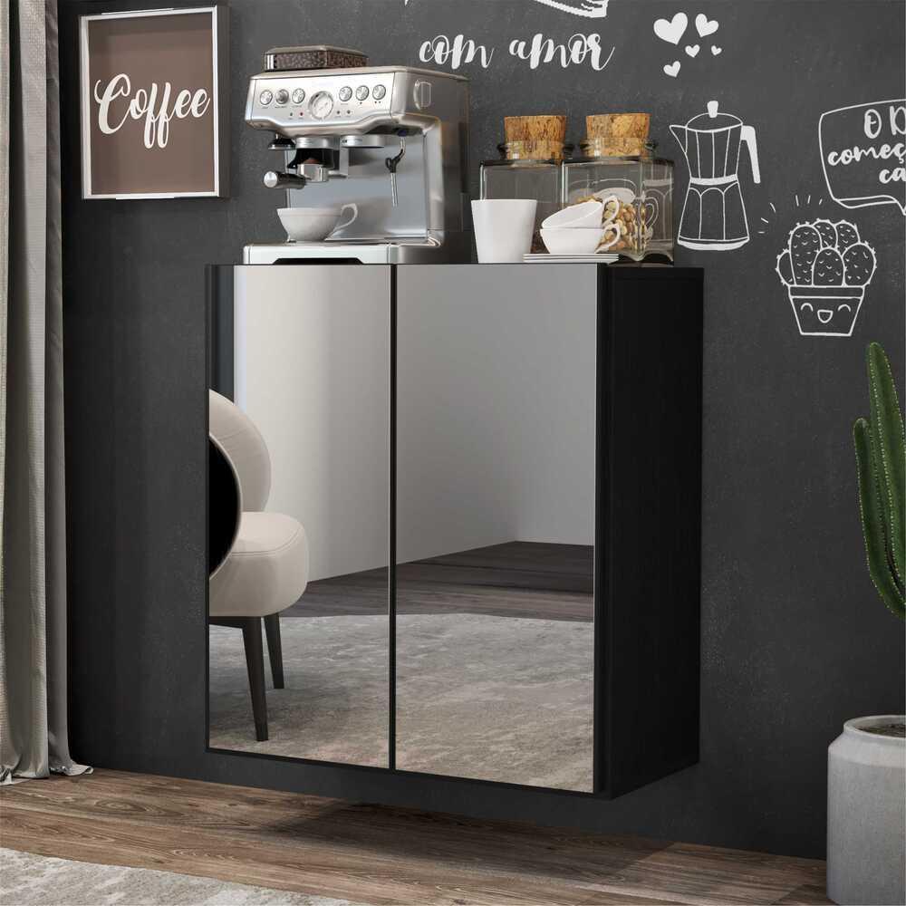 Aparador Cantinho do Café com Espelho Suspenso 2 Portas Multimóveis Preto