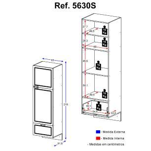 Paneleiro  Multimóveis Nevada com Gaveteiro e Vidro Reflecta Suspenso Branco/Grafite REF.5630S.977VD