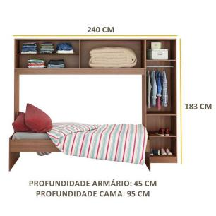 Guarda-Roupa/Roupeiro Multimóveis c/Cama para colchão 190cmx90cm Avelã/Branco REF.2650.952