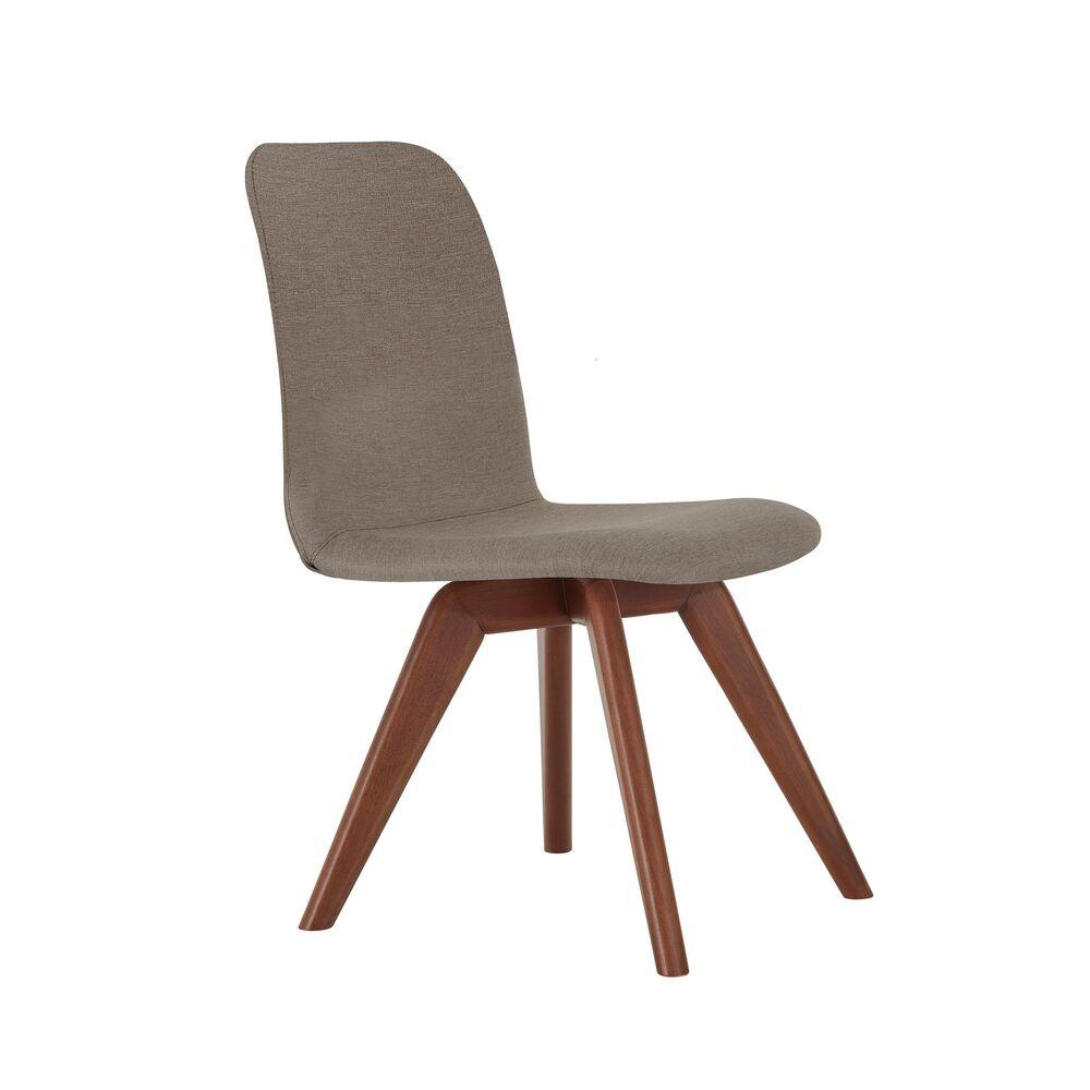 Cadeira de Jantar Fixa Bari Café com Leite 1777 Base Madeira cor Imbuia
