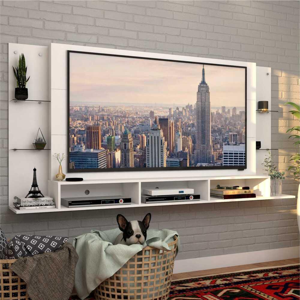Painel para TV até 65 polegadas com prateleiras de vidro Braga Plus Multimóveis Preto
